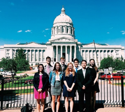 Students from Debra Wiens' AP Government Class in Jefferson City lobbying for the 911 Good Samaritan Law