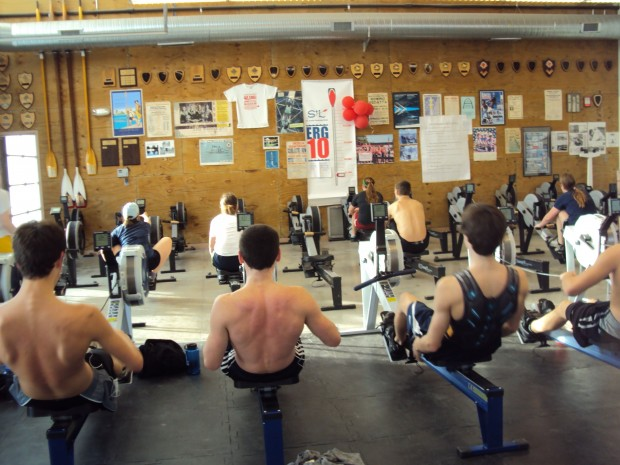 Rowers at the St. Louis Rowing Club work out on their erg machine. (Jocelyn Lee)