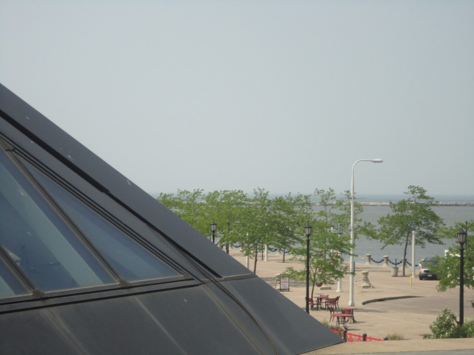 The Rock and Roll Hall of Fame in Cleveland is a interesting building with a beautiful landscape behind it. (Peter Baugh)