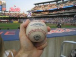 A Met's 50th season ball caught by Hample at Citi Field. Photo from Zack Hample.