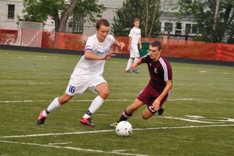 Sebastian Juhl fights for the ball. Juhl is one of the teams three captains. Photo by Regine Rosas.