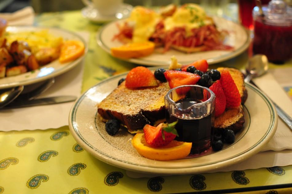 Fruit and french toast await their fate at Mamas, a diner in San Fransisco. Mamas is one of the most famous diners in San Fransisco and has customers waiting at the door as early as 7 in the morning even though the diner opens at 8.