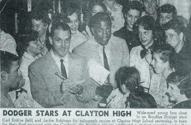 Robinson and Erskine at CHS. (Courtesy of St. Louis Post Dispatch and Carl Erskine)