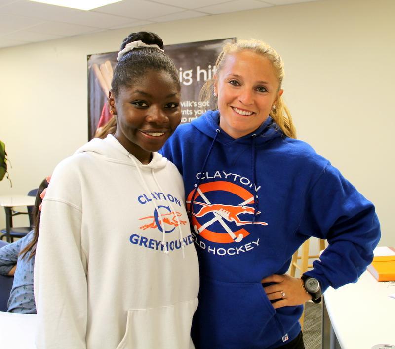 Health teacher Ms. Hogan and Sophomore Theresa Klein matched in Clayton spirit wear.
