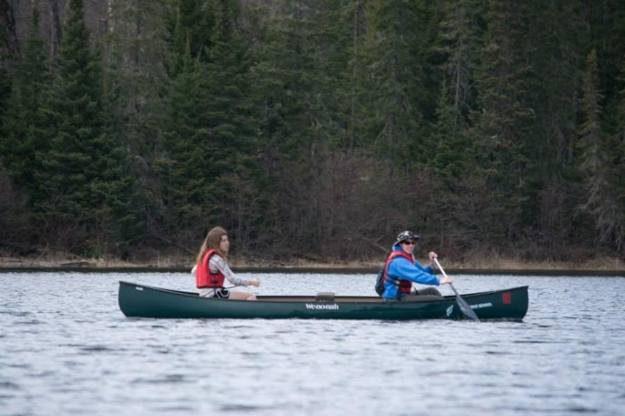 Marina Henke and a fellow student canoe in northern Wisconsin. Classes that took students on the water were not uncommon.