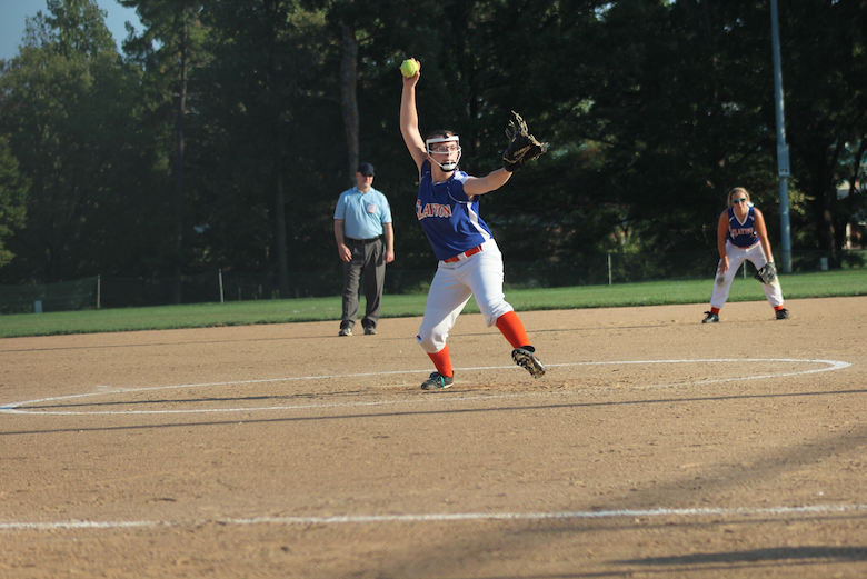 Sophomore Emily Sharp throwing a fastball.