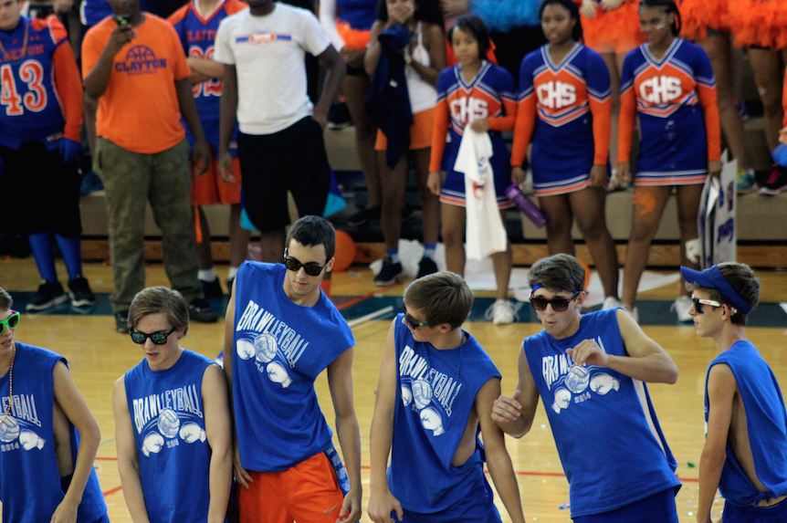 Boys Varsity Soccer performs for the CHS Homecoming Peprally