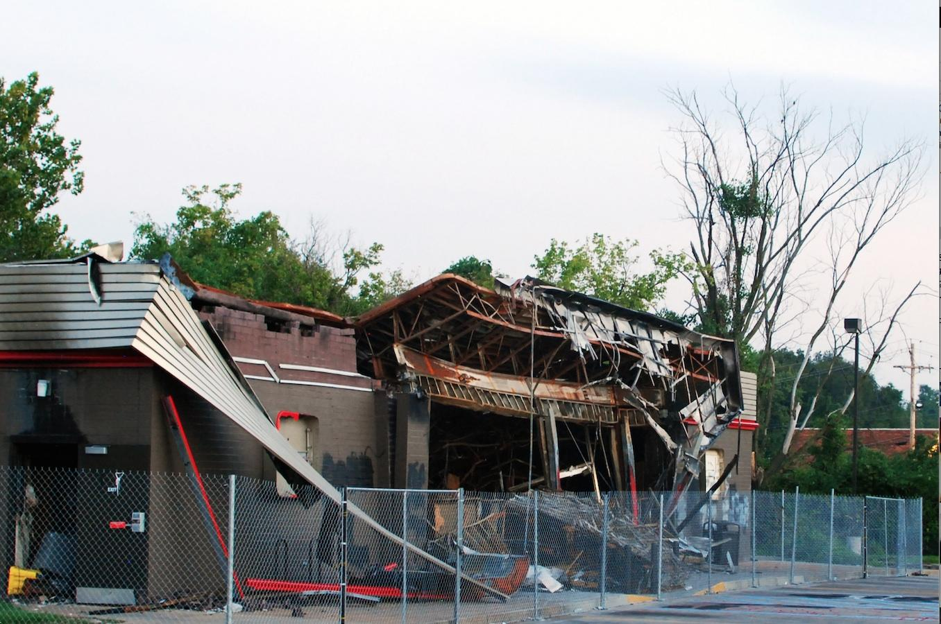 Remains of the Ferguson QuikTrip that was burned by protestors.