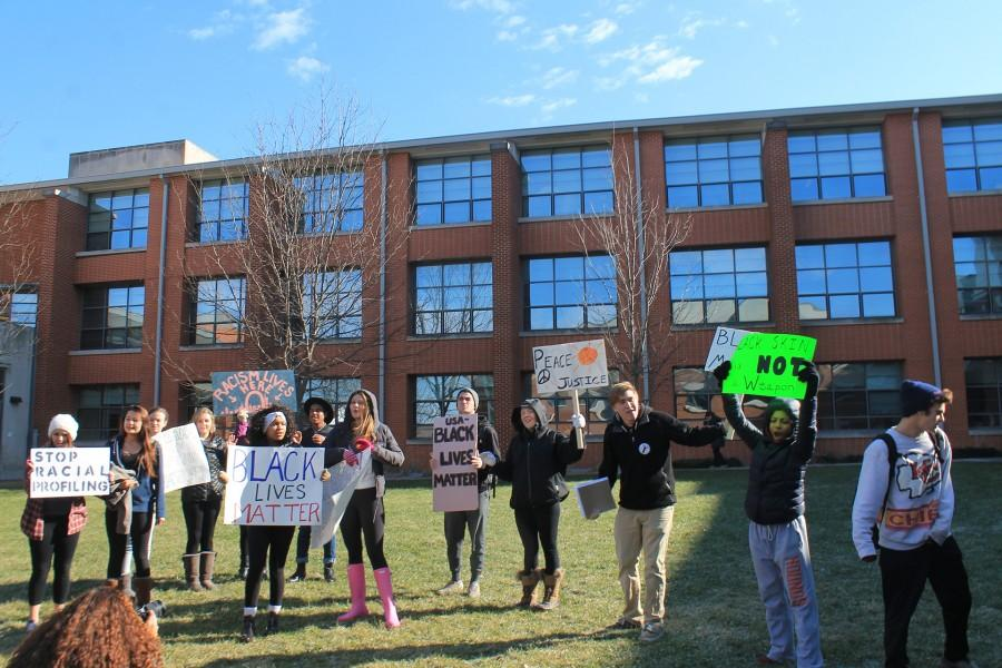 Clayton students walk out of class for a protest in tandem with the recent events regarding Ferguson, MO.