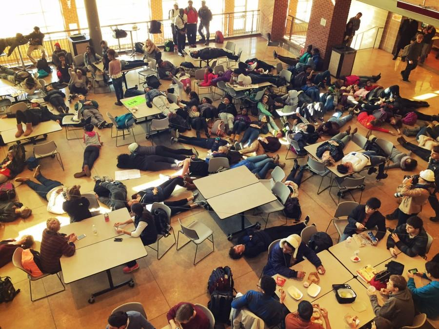 Students+participate+in+a+Die-In%2C+in+the+CHS+Commons.