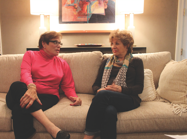 Suzy Seldin and Sally Rosenthal chat in Seldins Clayton home.