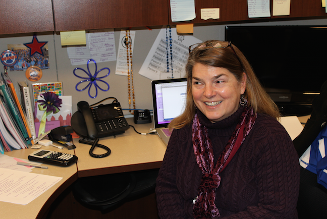 Stacy Felps is the instructional coordinator for Clayton High School. Here, she sits in her office (Photo by Gwyneth Henke).