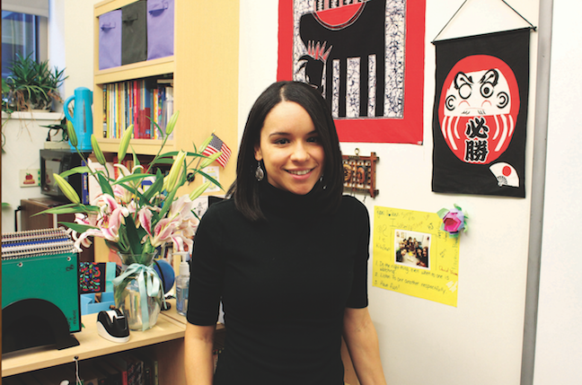 Stephanie Roberson stands in her office at Wydown Middle School. Roberson is the English Language Learners teacher (photo by Marina Henke).