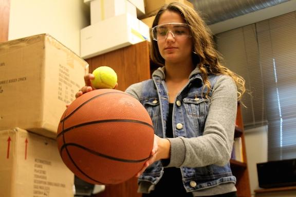 Freshman Physics Student Participates in Force Lab