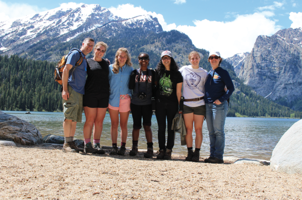 The CHS group standing in front of Grand Teton National Park where they conducted their research (photo from Ellie Troupis).