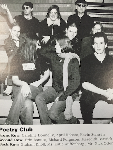 Nick Otten as a sponsor for the CHS Poetry Club earlier in his career at Clayton. (photo from Nick Otten)