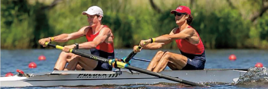 Will Lerwick (left) races at the 2016 US Rowing Youth National Championships