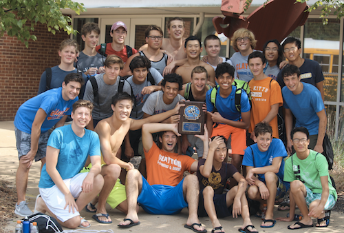 The varsity boys' swimming team.