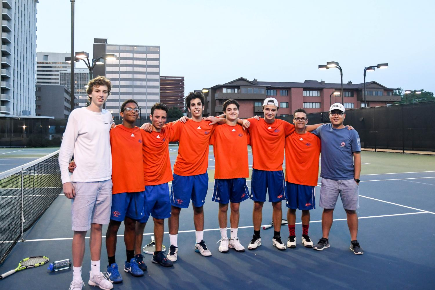 Boys' tennis team at Shaw Park after winning Sectionals