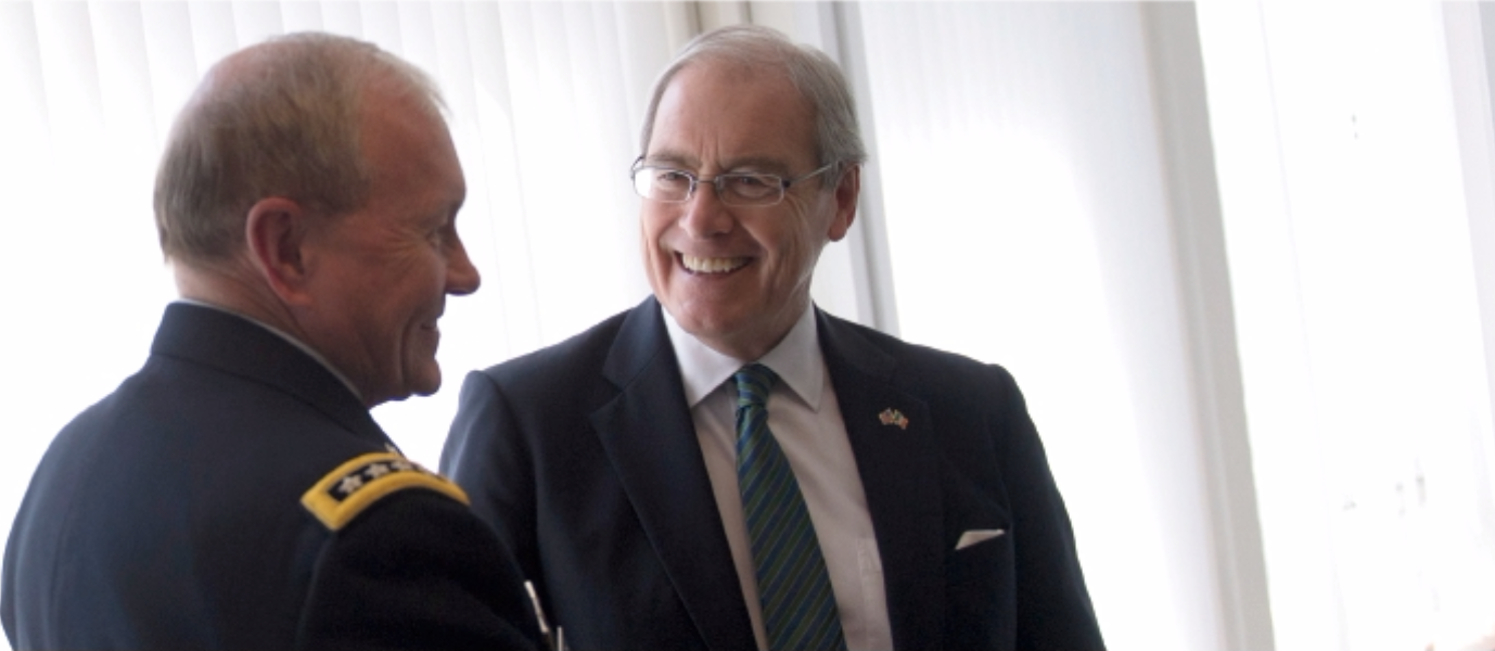 U.S. Ambassador to Ireland, Kevin O'Malley and Chairman of the Joint Chiefs of Staff, Gen. Martin E. Dempsey, meet at the U.S. embassy in Dublin, Ireland, Aug. 18, 2015. (Photo from the Department of Defense, Wikimedia Commons).