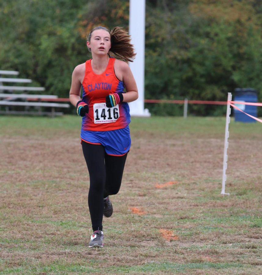 Nora Mitchell ran varsity as a freshman and sprinted at the end to set an impressive PR.