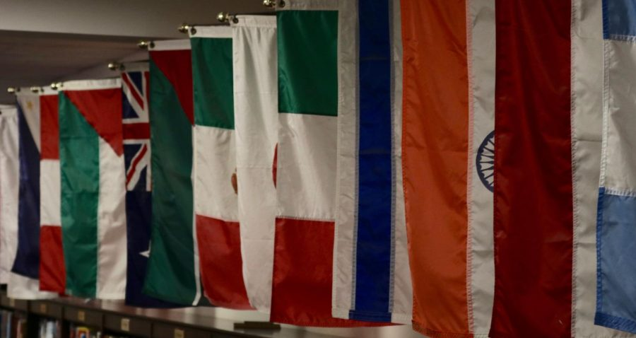Colorful flags in Glenridge library.