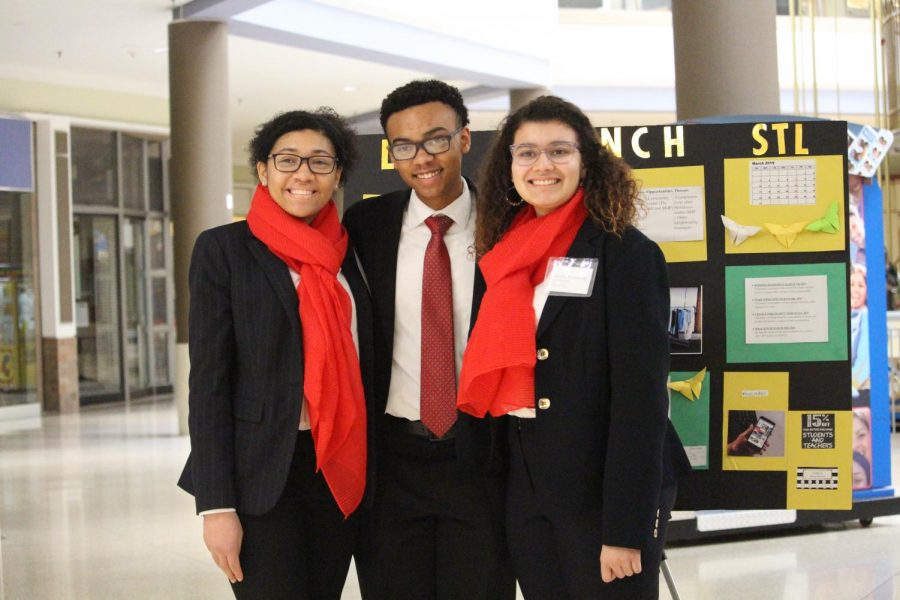 Photo of CHS DECA participants at DECA D8 Districts at the Chesterfield Mall. From left, Kennedy Sams, Jacob Blair, and Cecelia Armstrong.