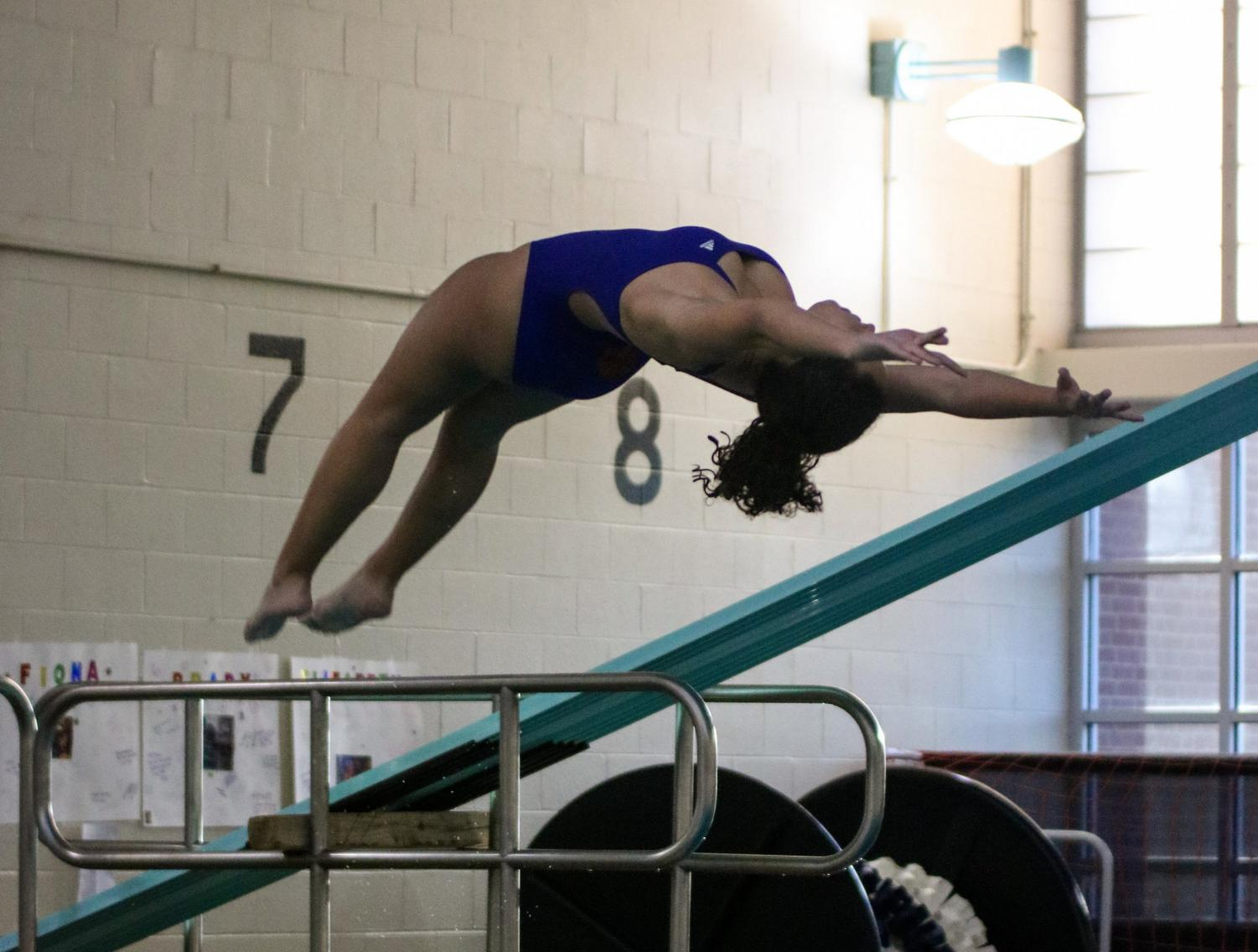 Brooke Becker practicing her diving.