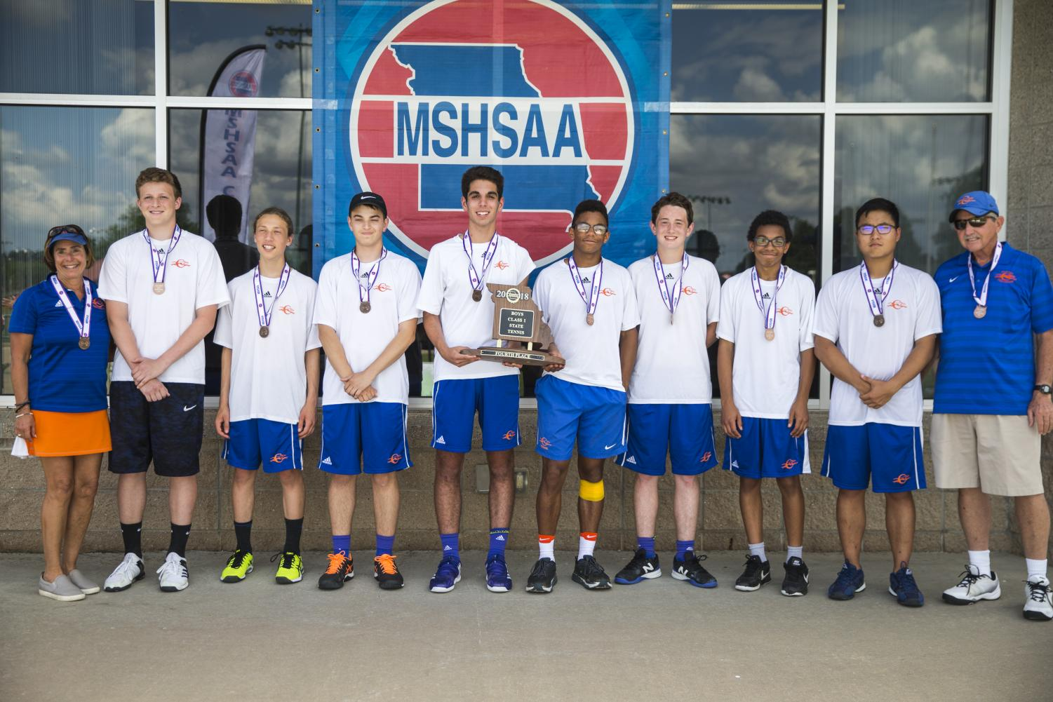 Coach Suzie Luten, far left, and the 2018 CHS Boys Tennis Team took home 4th place in the annual MSHSAA State Championships at Cooper Tennis Complex in Springfield, MO.