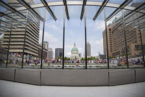 The newly-renovated Gateway Arch museum draws large crowds at its opening event.