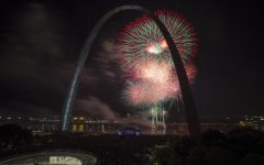 Fireworks explode over the Mississippi during a Fourth of July celebration in Downtown St. Louis. The day's festivities also included food, music, an air show and more.