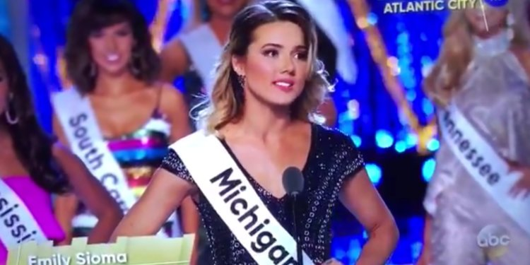 Emily Sioma speaks about Flint water crisis during the Miss America Pageant.