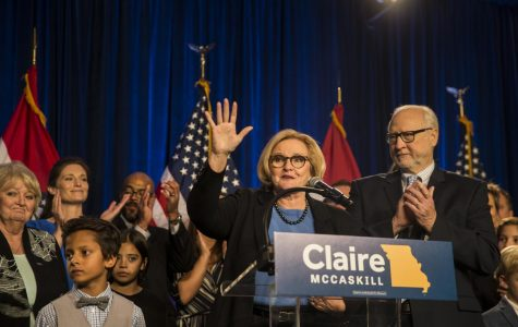 Former US Senator and democrat Claire McCaskill addresses a crowd of supporters at her election watch party on Tuesday night. Later that night, McCaskill conceded the race for her re-election in Missouri to her republican opponent, Josh Hawley.