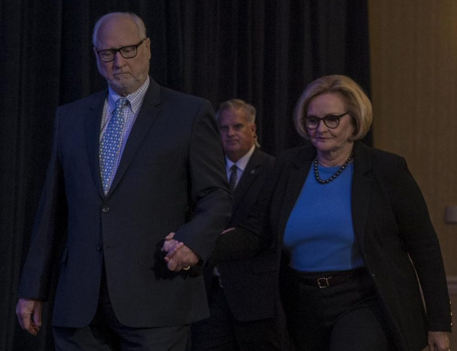 U.S. Senator Claire McCaskill approaches the stage at her election night party before conceding the race to Josh Hawley.