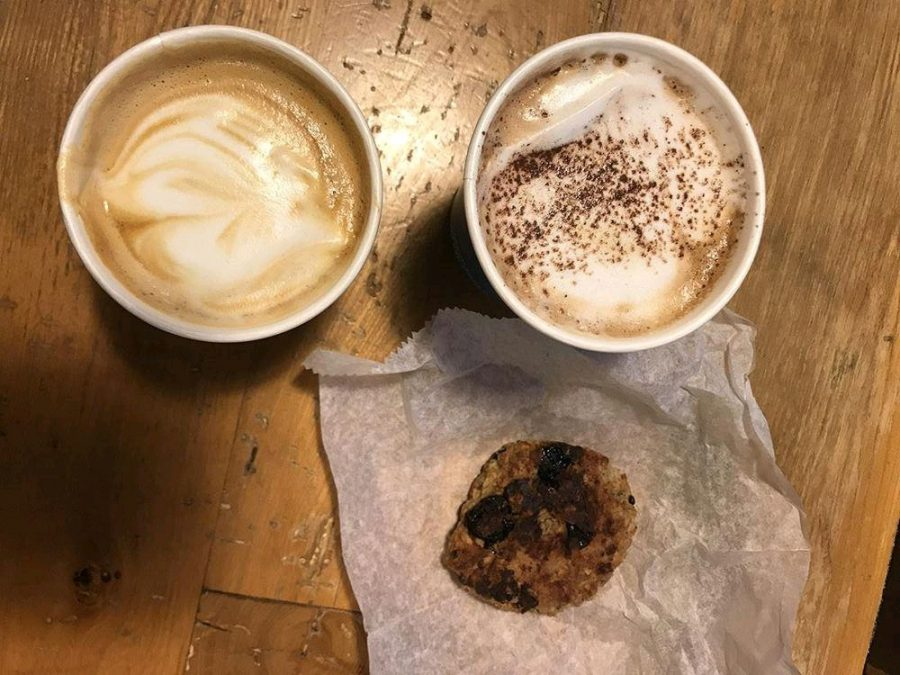 From Blueprint Coffee on the Delmar Loop, we ordered a mocha (right) and a cappuccino (left), with their signature raisin chocolate cookie.