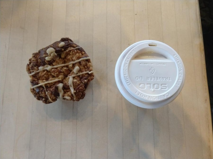 At Northwest coffee, we ordered this apple cinnamon muffin, pictured next to the house mocha.