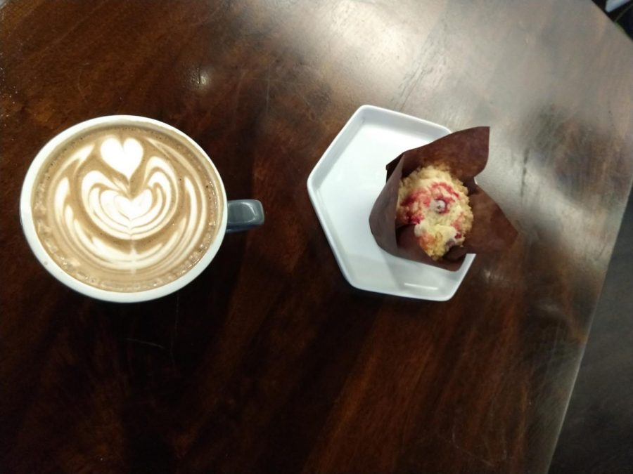 At Coma Coffee, we ordered the cranberry muffin and the mocha.