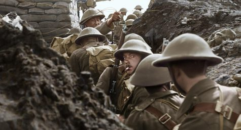 This restored image shows British soldiers preparing to exit their trenches