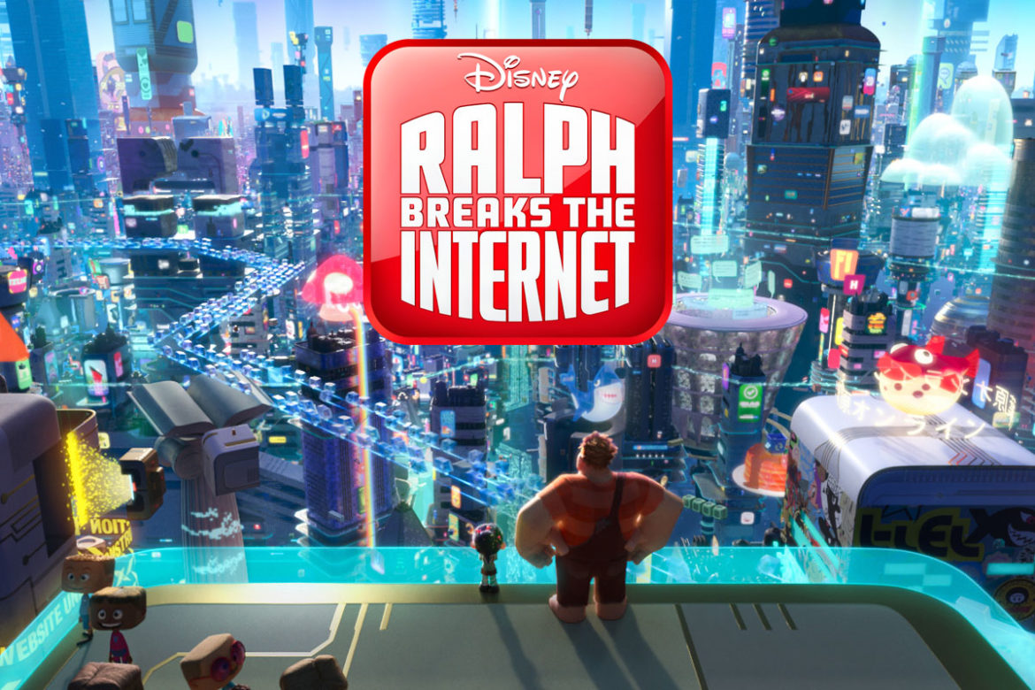 "INTO THE INTERNET – In ""Ralph Breaks the Internet: Wreck-It Ralph 2,"" Vanellope von Schweetz and Wreck-It Ralph leave the arcade world behind to explore the uncharted and thrilling world of the internet. In this image, Vanellope and Ralph have a breathtaking view of the world wide web, a seemingly never-ending metropolis filled with websites, apps and social media networks."