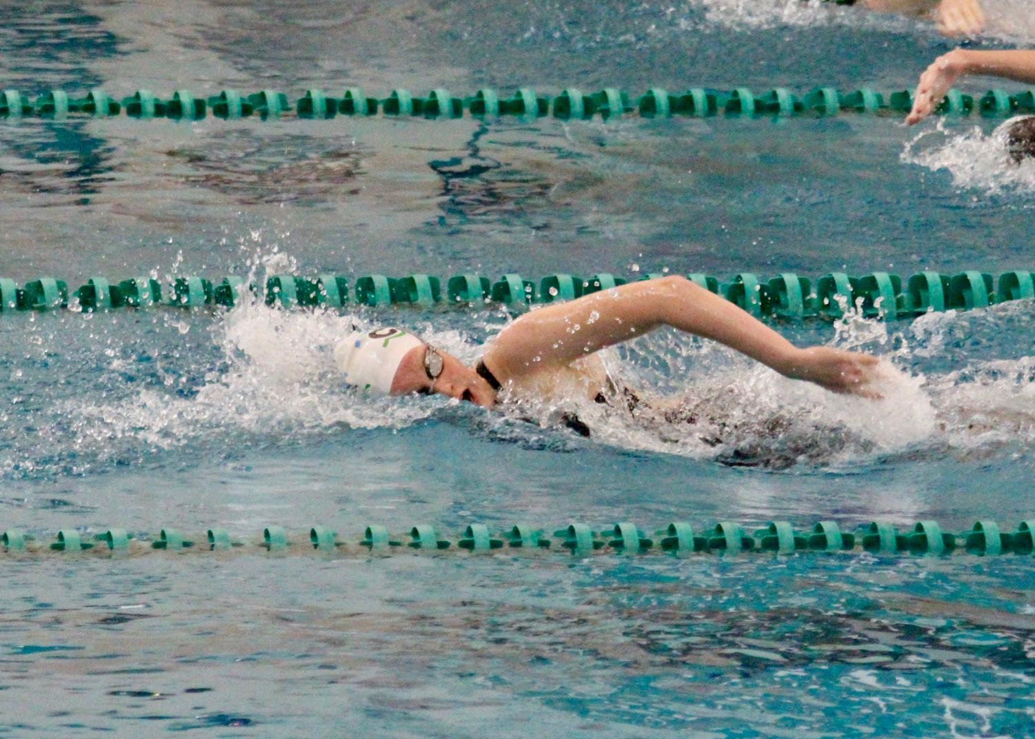 Mottl competes in a freestyle swimming event during a swim meet.