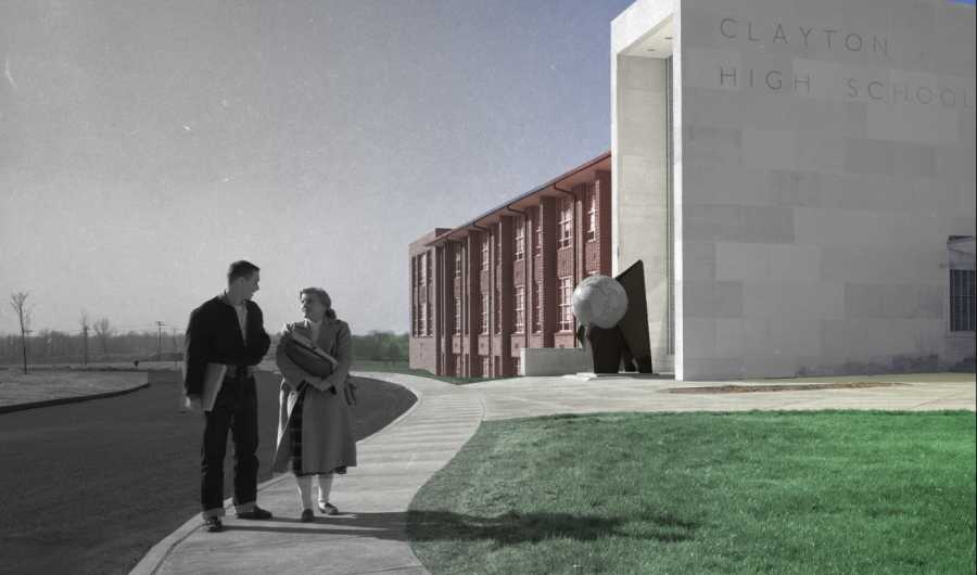This recolored photo from the CLAMO yearbook shows what the school looked like long before today