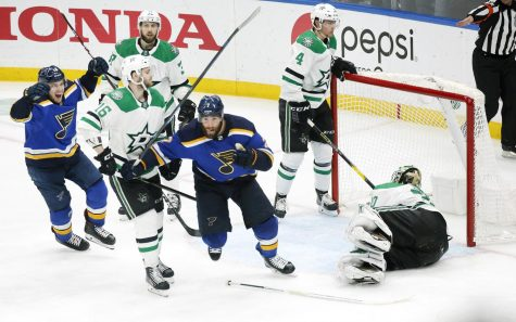 The St. Louis Blues' Pat Maroon (7) celebrates his winning shot over Dallas Stars goaltender Ben Bishop (30) during the second overtime period in Game 7 of the Western Conference semifinals at the Enterprise Center in St. Louis on Tuesday, May 7, 2019. The Blues advanced with a 2-1 win in double OT.