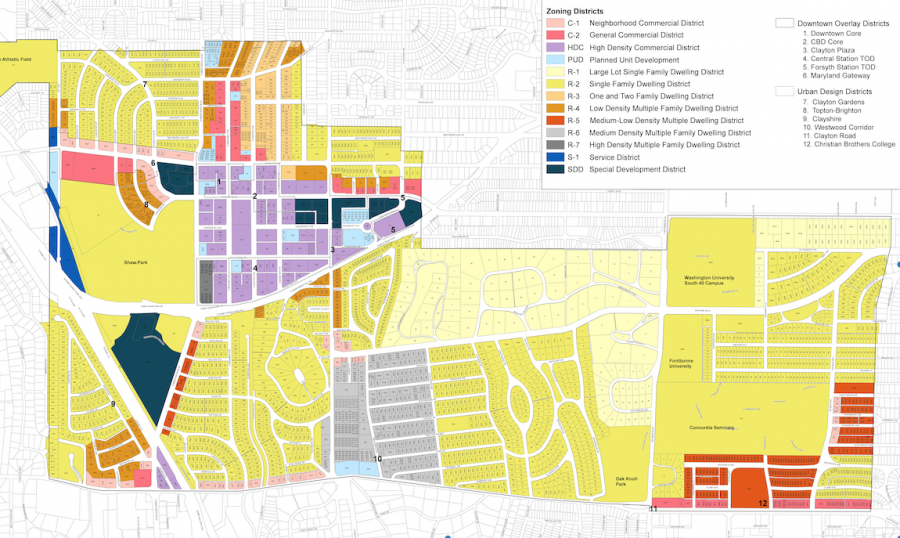 Zoning maps of Clayton highlights trends that reflect a history of housing and zoning concerns.