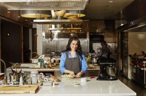 Claire Saffitz at her work bench in the Bon Appetit Test Kitchen in New York City.