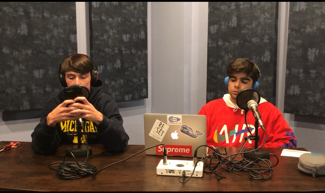 Seniors Jimmy Malone (left) and Armon Seraji (right) record an episode of their podcast, Greyhound Time.