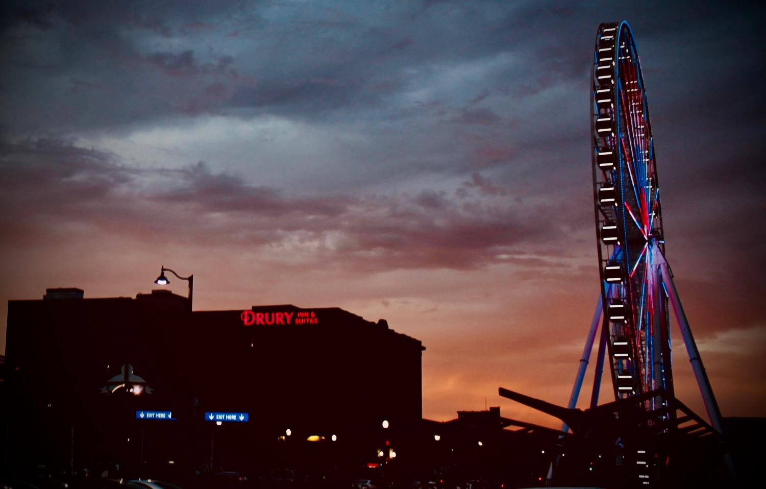 The St. Louis Wheel at sunset.