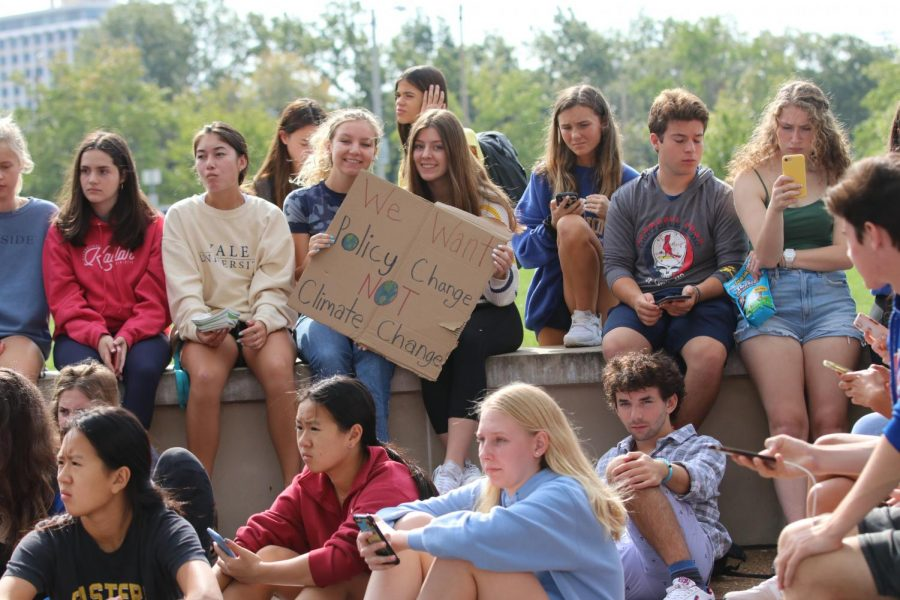 CHS students hold up signs during a climate change strike outside of the high school on September 27th, 2019. This was the second of two strikes regarding the future of the planet, the first one being on September 20th.