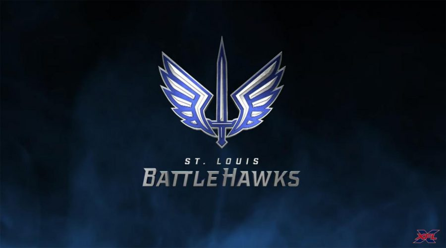 The St. Louis Battlehawks' logo.