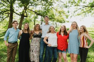 Steve Stipanovich with his direct family. From left to right: Luke Stipanovich, Kelli Donat, Hannah Stipanovich, Steve Stipanovich, Terri Stipanovich, Katie Putnam, Sadie Montgomery, and Emma Stipanovich.