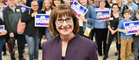Jill Schupp surrounded by a group of her supporters